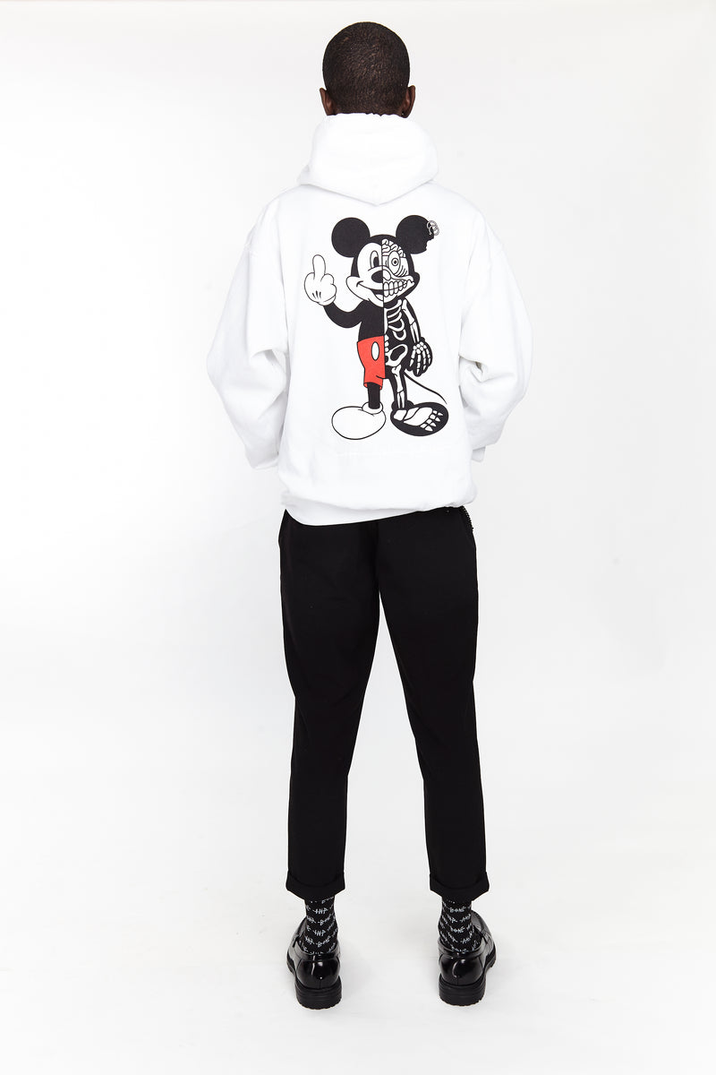 TWISTED MOUSE HOODIE WHITE - HIP AND BONE