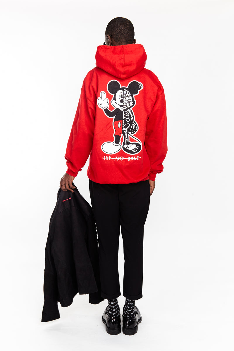 TWISTED MOUSE HOODIE RED | Tops | HIP AND BONE