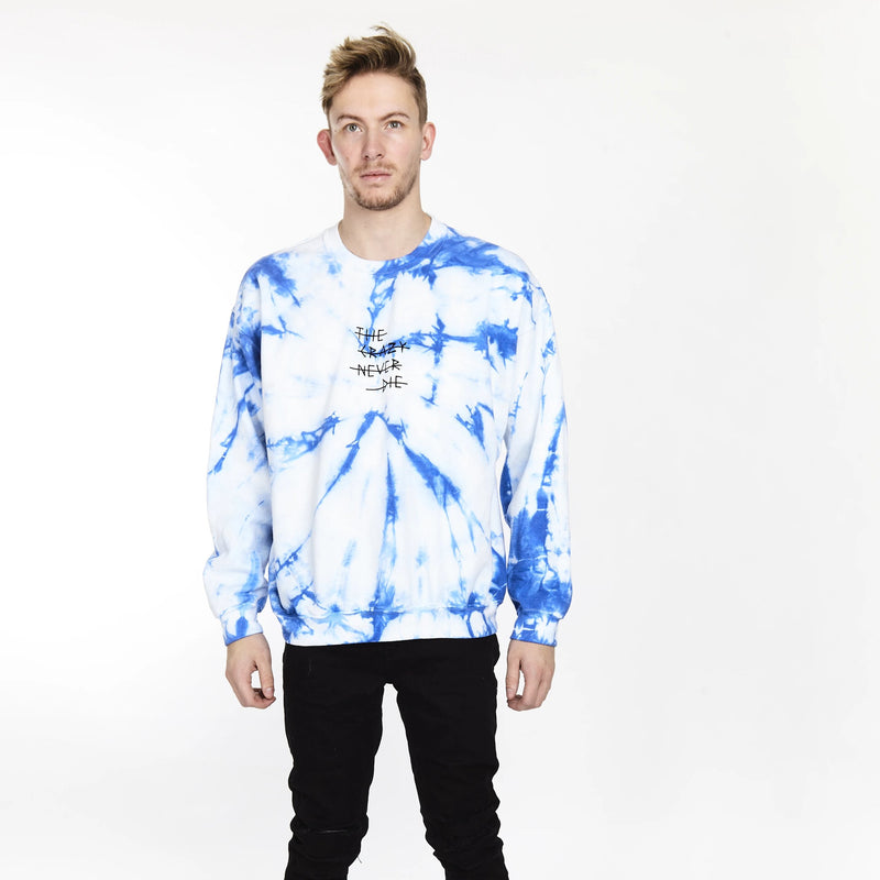 THE CRAZY NEVER DIE TIE DYE CREW SPIRAL BLUE - HIP AND BONE