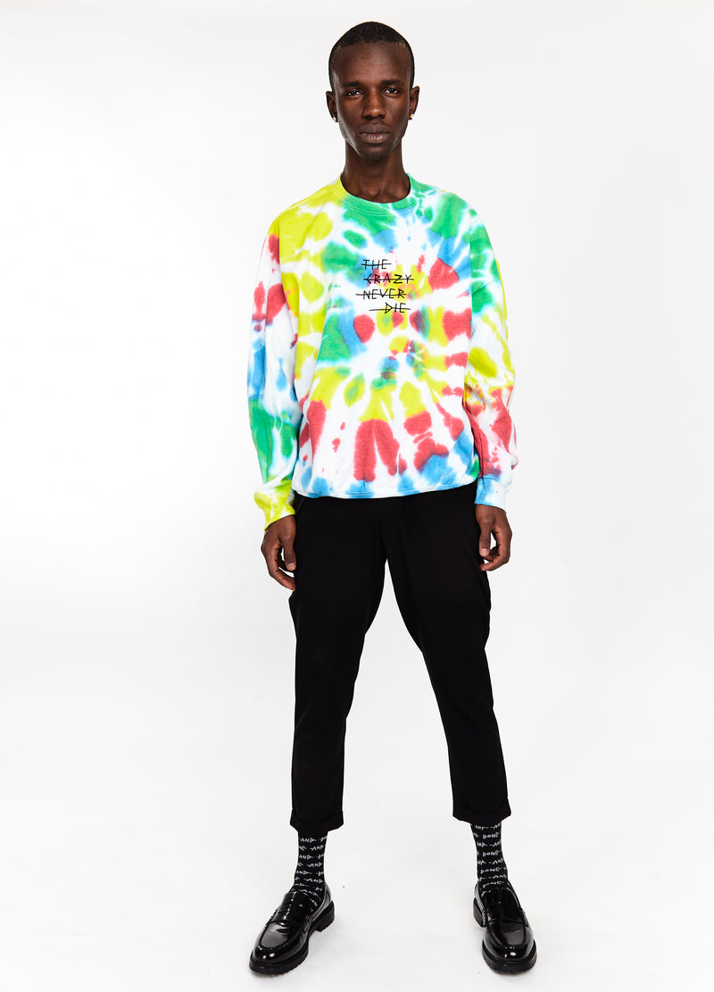 THE CRAZY NEVER DIE TIE DYE CREW MULTICOLOUR - HIP AND BONE
