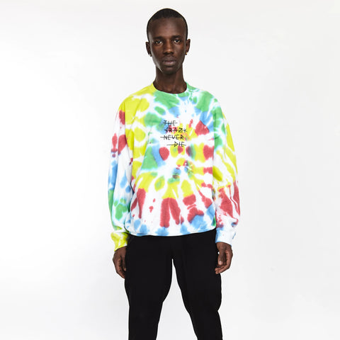 TIE DYE LONG SLEEVE TEE NEON ORANGE