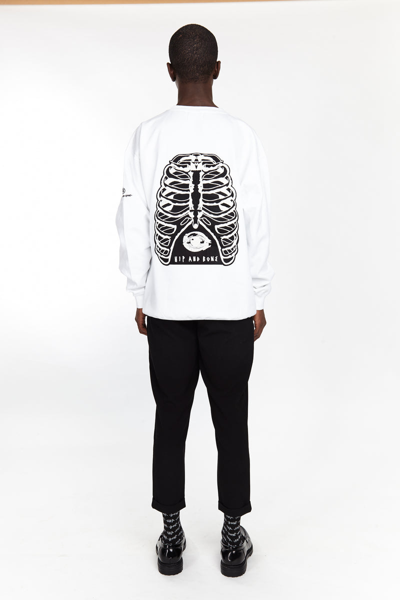 RIBCAGE CREW WHITE - HIP AND BONE