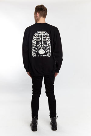 RIBCAGE CREW BLACK - HIP AND BONE