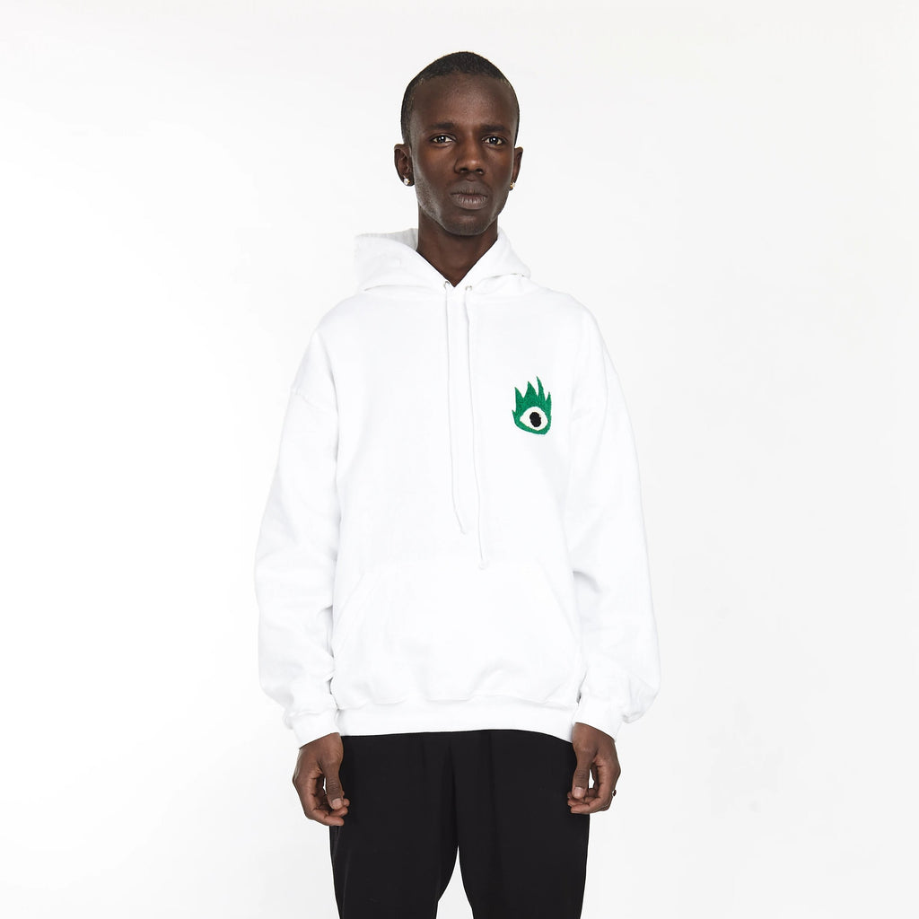 FIRE EYE HOODIE WHITE - HIP AND BONE