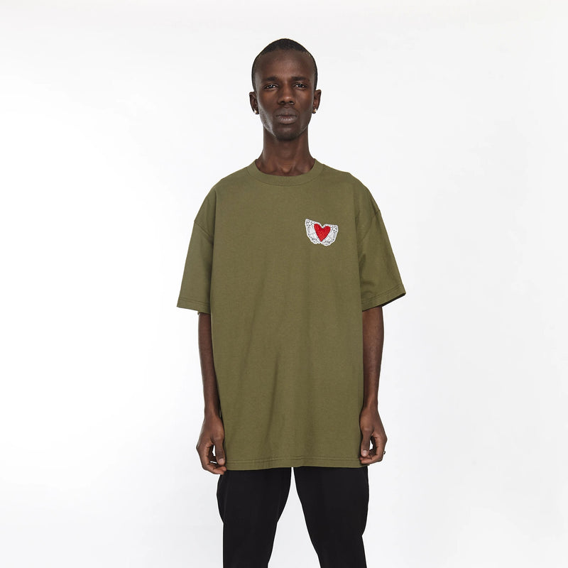 HEARTED HANDS TEE MILITARY GREEN - HIP AND BONE