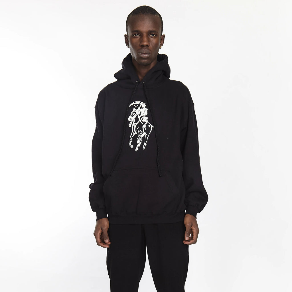 DEAD POLO HOODIE BLACK - HIP AND BONE