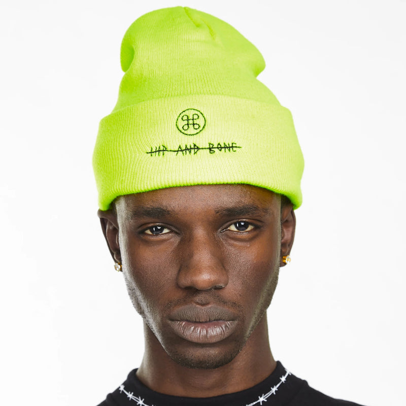 HIP AND BONE ROLL UP BEANIE NEON GREEN - HIP AND BONE