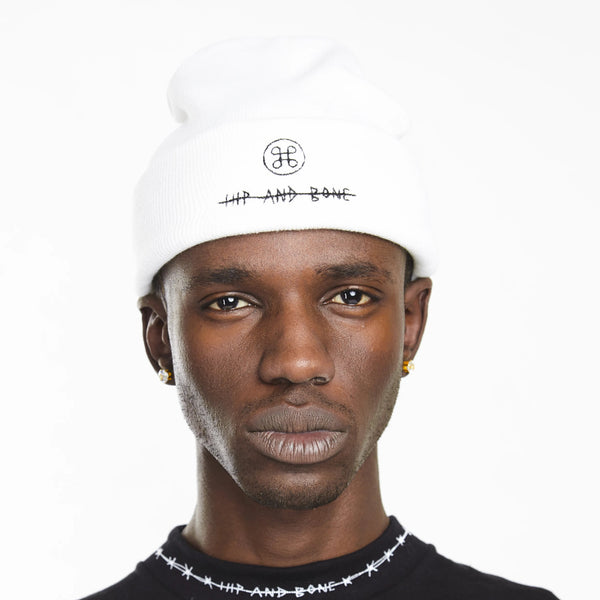 HIP AND BONE ROLL UP BEANIE WHITE | Accessories | HIP AND BONE