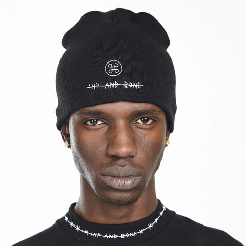 HIP AND BONE ROLL UP BEANIE WHITE