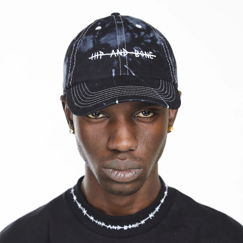 HAND TIE DYED DAD CAP SPOTTED BLACK - HIP AND BONE
