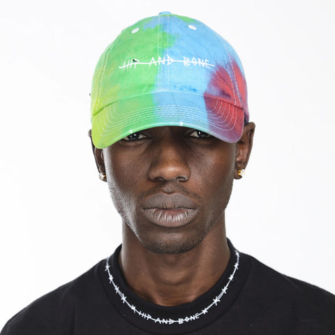 HAND TIE DYED DAD CAP SPOTTED BLACK