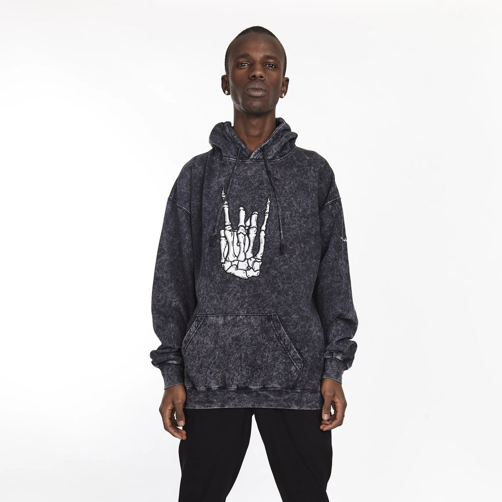 ROCKER HAND ACID WASH HOODIE BLACK - HIP AND BONE