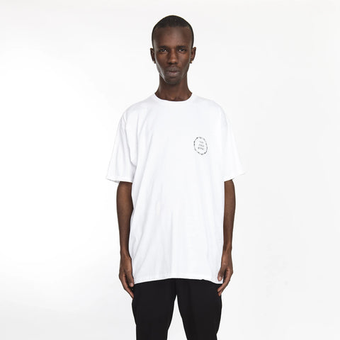 BARBED WIRE MOCK NECK TEE WHITE