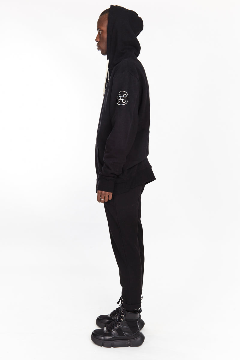 POLAR ZIP UP HOODIE BLACK - HIP AND BONE