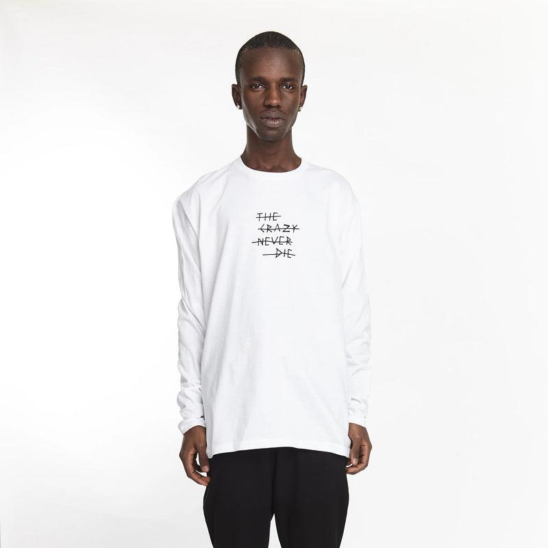 THE CRAZY NEVER DIE LONG SLEEVE TEE WHITE | Tops | HIP AND BONE