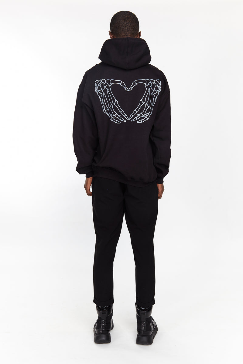 HEARTED HANDS PULLOVER HOODIE BLACK - HIP AND BONE