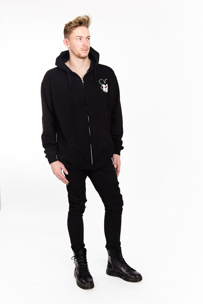 TWISTED MOUSE ZIP UP HOODIE BLACK - HIP AND BONE