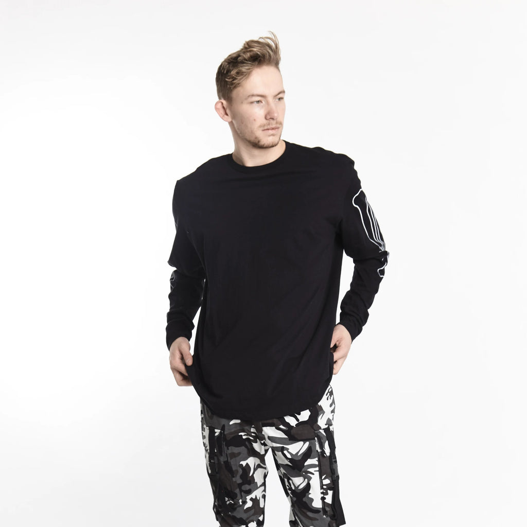 BONE SLEEVE LONG SLEEVE TEE BLACK - HIP AND BONE