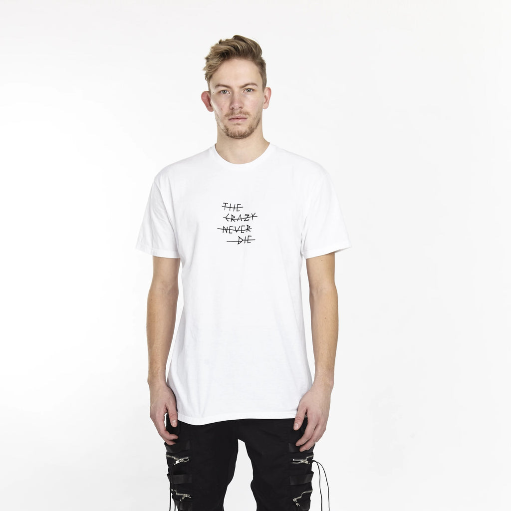 THE CRAZY NEVER DIE TEE WHITE - HIP AND BONE