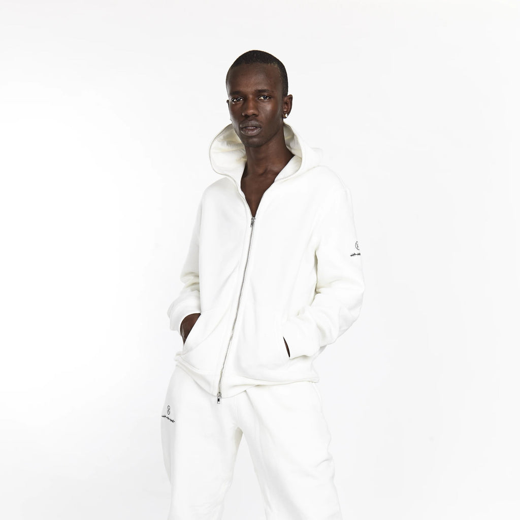 SOFTEST ZIP UP HOODIE EVER ESSENTIALS WHITE