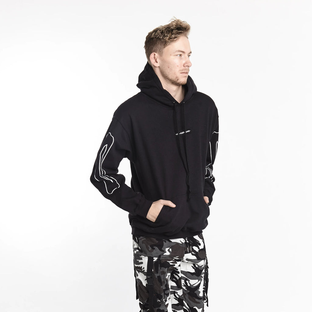 BONE SLEEVE HOODIE BLACK - HIP AND BONE