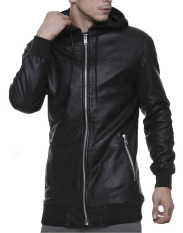 LEATHER SHADOW HOODIE | Tops | HIP AND BONE