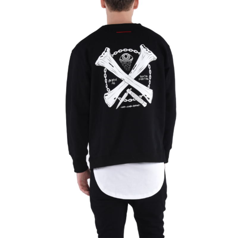 CREST CREWNECK / BLACK - HIP AND BONE