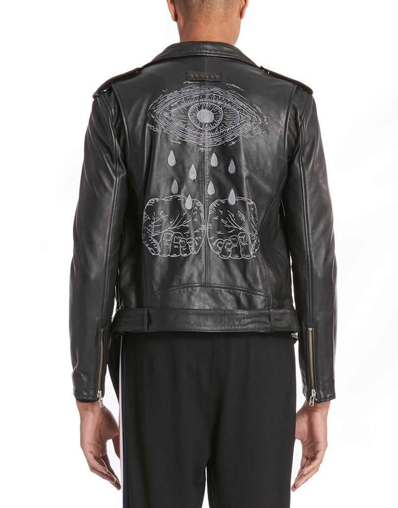 TRUTH HURTS LEATHER BIKER JACKET / BLACK - HIP AND BONE