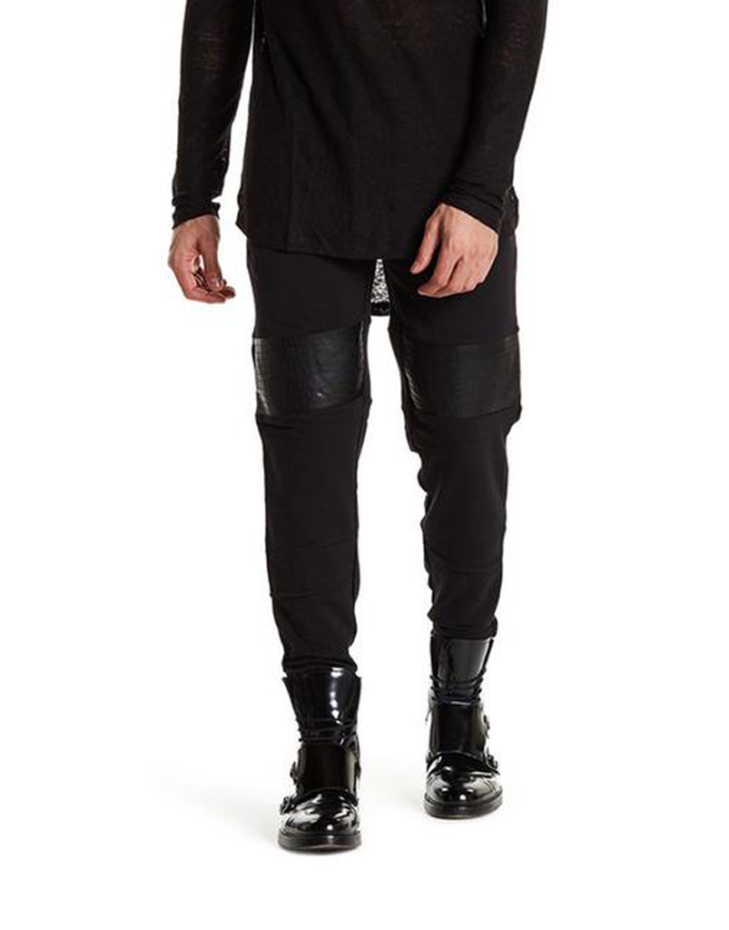 BIKER JOGGERS / BLACK CROC LEATHER - HIP AND BONE