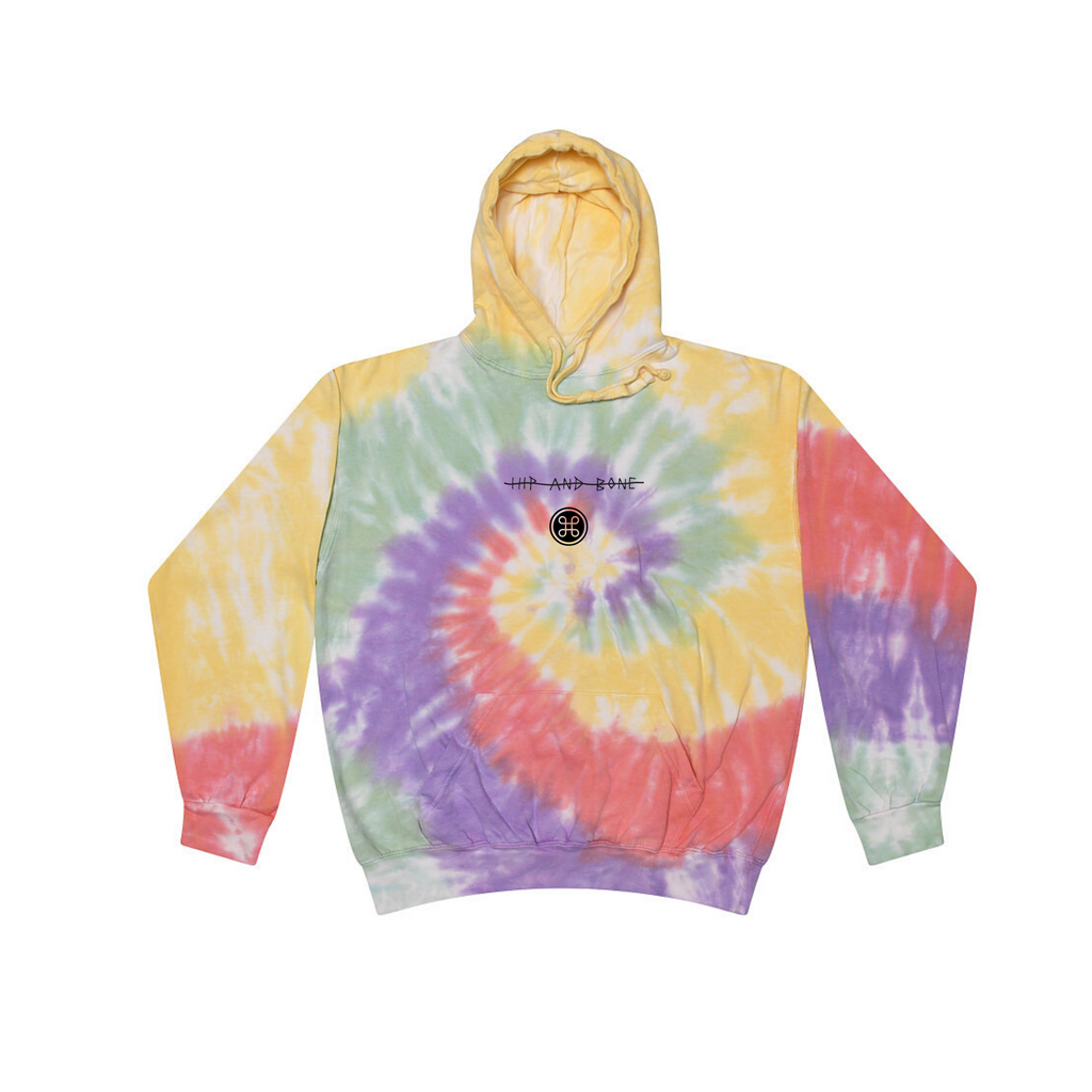 TIE DYE HOODIE FADED RAINBOW - HIP AND BONE