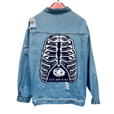 Distressed Bone cage denim jacket