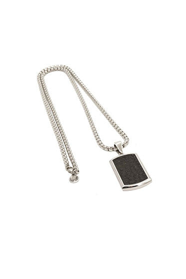 CROC LEATHER DOG TAG AND SILVER CHAIN BLACK