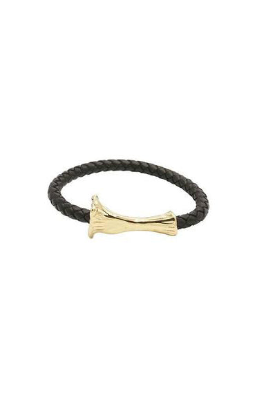 GOLD BONE LEATHER BRACELET - BLACK - HIP AND BONE