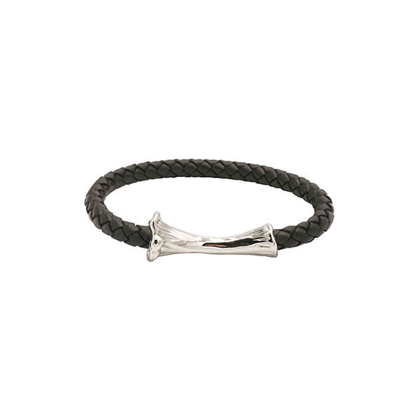 SILVER BONE LEATHER BRACELET / BLACK - HIP AND BONE