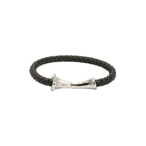 SILVER BONE LEATHER BRACELET / BLACK