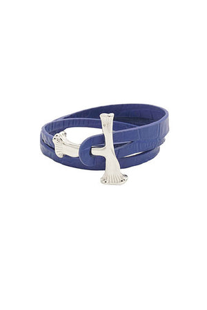 SILVER BONE WRAP CROC LEATHER BRACELET / BLUE