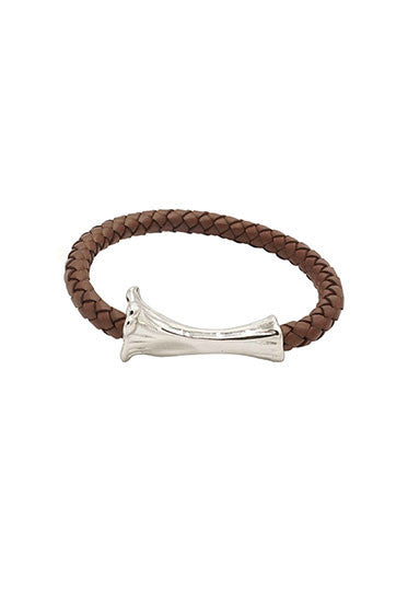 SILVER BONE LEATHER BRACELET BROWN