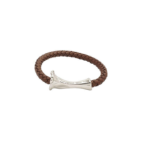 SILVER BONE LEATHER BRACELET / BROWN