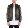 LEATHER SLEEVE BOMBER / OLIVE GREEN - HIP AND BONE