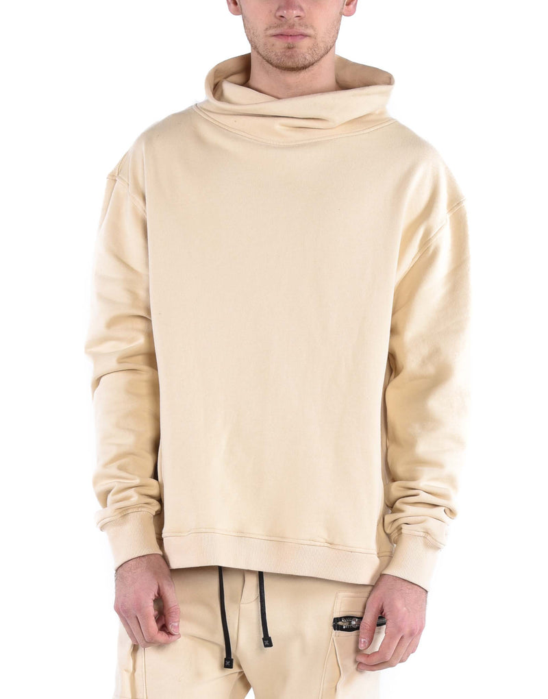 ZIP TURTLENECK SWEATSHIRT / SAND