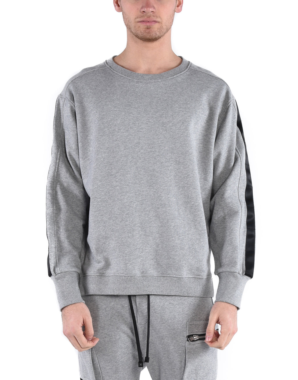 PARACHUTE CREW SWEATSHIRT - GREY - HIP AND BONE