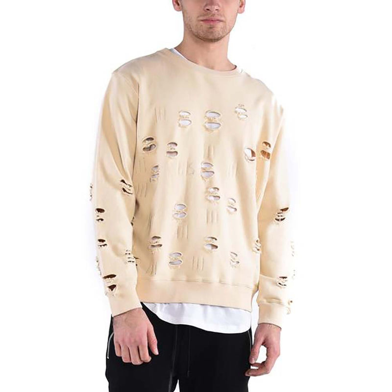 DISTRESSED RIPPED SWEATSHIRT / SAND - HIP AND BONE