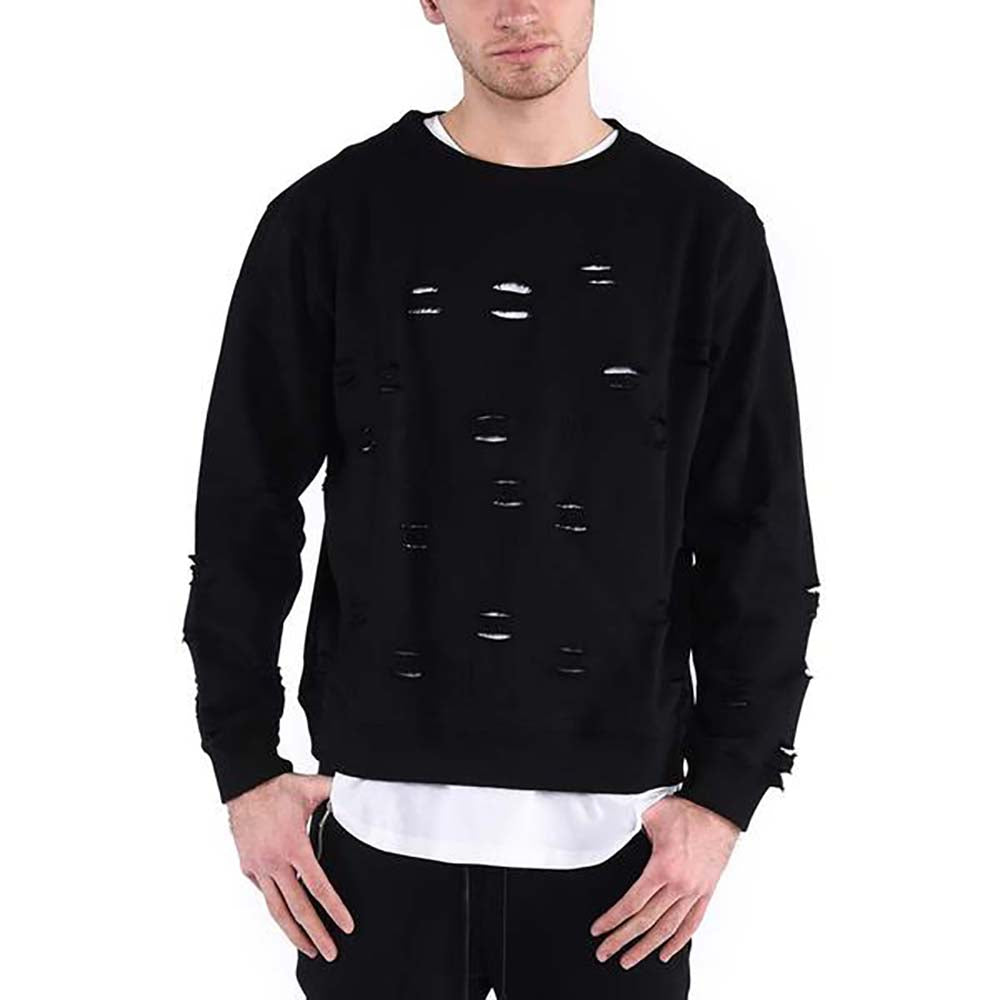 DISTRESSED RIPPED SWEATSHIRT / BLACK