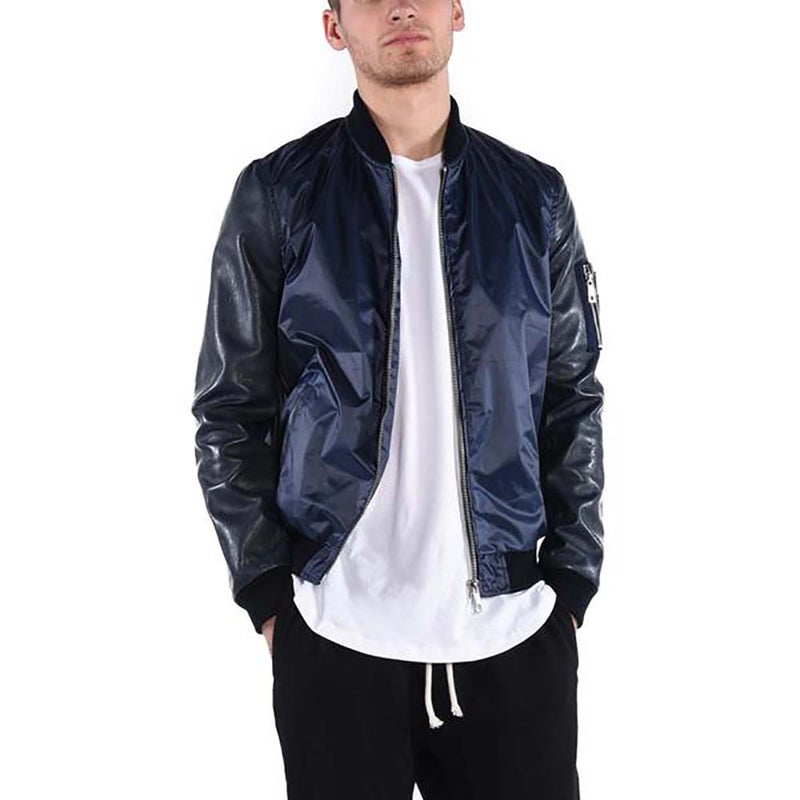 LEATHER SLEEVE BOMBER JACKET / NAVY - HIP AND BONE