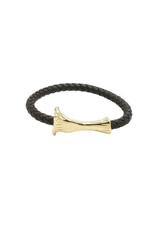 GOLD BONE LEATHER BRACELET - BLACK