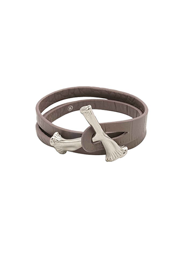 GREY BONE WRAP CROC LEATHER BRACELET - GREY - HIP AND BONE