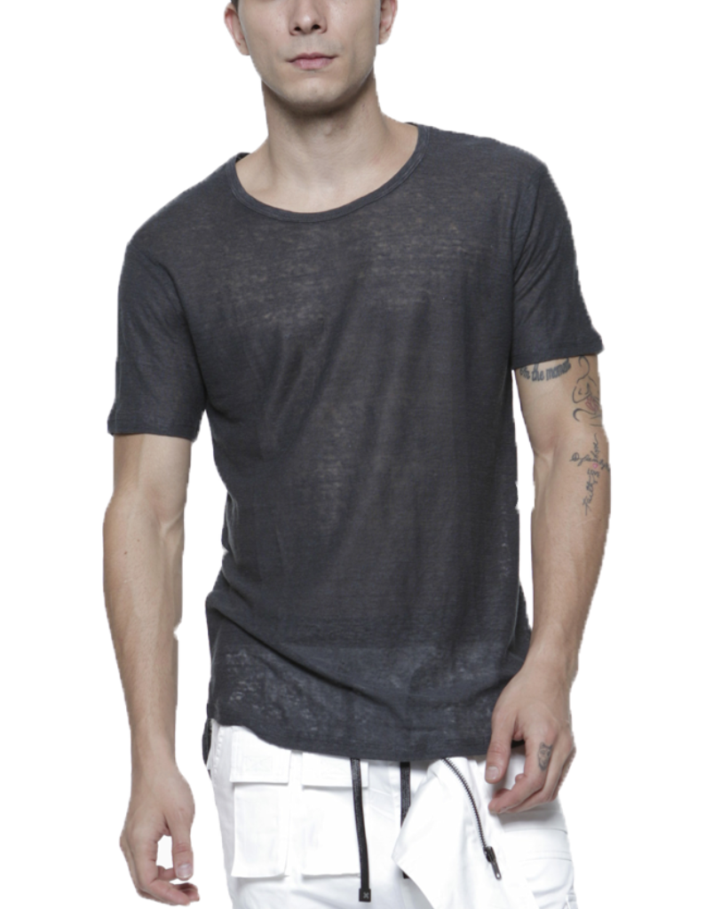 LINEN TEE / CHARCOAL - HIP AND BONE