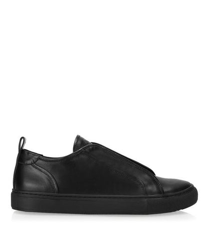 FLY LEATHER SNEAKER SLIP-ON / BLACK