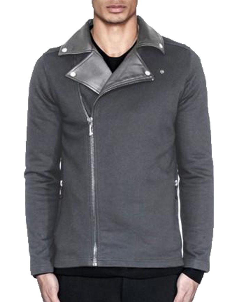 BIKER CARDIGAN / CHARCOAL - HIP AND BONE