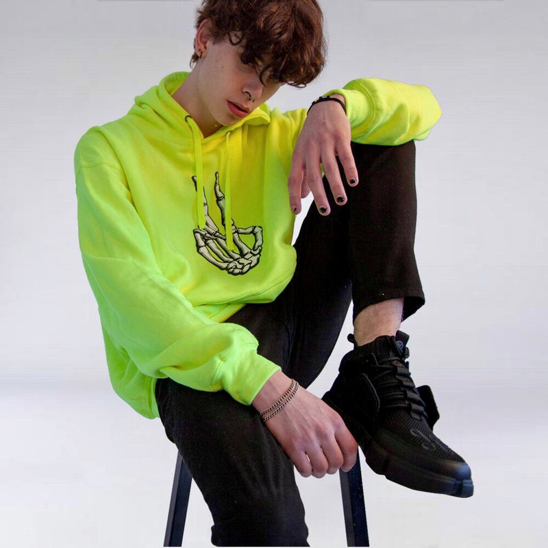 NEON ROCKER HAND PULLOVER HOODIE SAFETY GREEN
